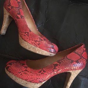 Nuture Leather Red Hot Faux Snakeskin Heels